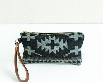 Wristlet- Spider Rock Wool and Leather