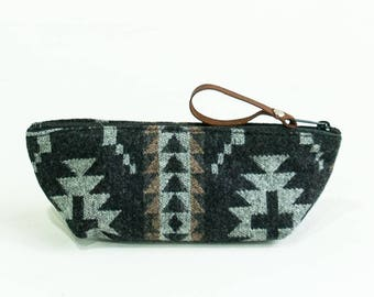 Small Wool Cosmetic Pouch in Spider Rock Pattern