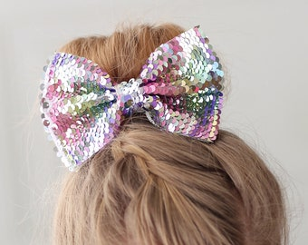 Pink Bead Mix Effect Glitter Pinch Hair Accessories Bow Clips