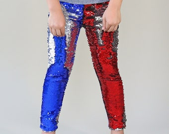 Americana Reversible Sequined Pants - Flip Sequin Pants - Patriotic Sequined Pants
