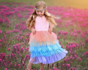 2ca45304e5d1 Rainbow Dress - Long Pastel Dress - Pastel Rainbow Tutu Dress - Birthday  Dress - Party Dress - Twirly Dress