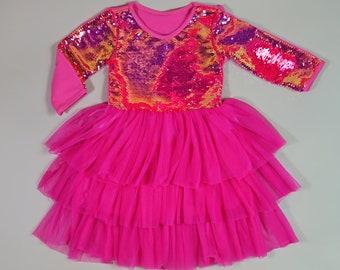 Magic Sequin Tutu Dress Peach Tutu Dress Birthday Dress Party Dress Twirly Dress Blush Flip Tutu Dress