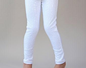 a7fb3b892cea White Sequin Leggings - White Sequin Pants - Sequin Pants - White Pants -  White Glitter Pants - White Sparkle Pants