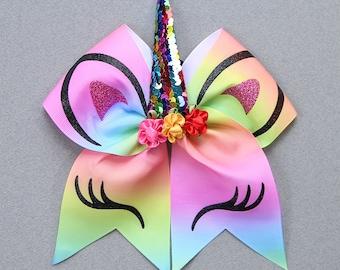Rainbow Unicorn Hair Bow - Unicorn Rubberband - Unicorn Hair Accessory - Unicorn Hair Bow