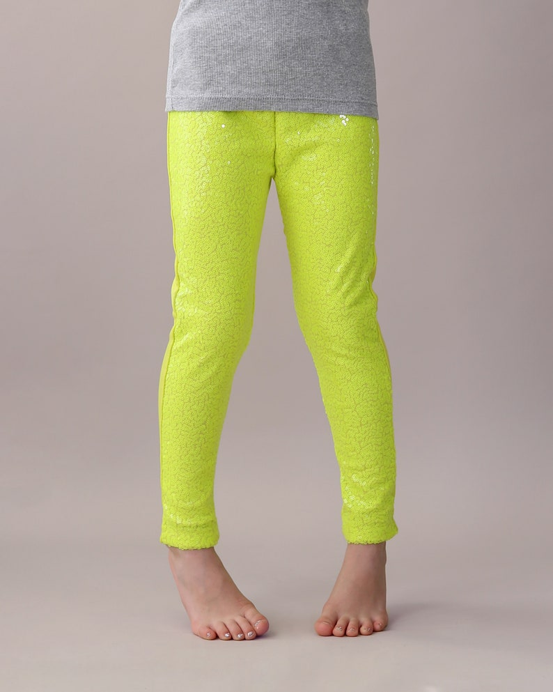 2b8ca57e Neon Yellow Sequin Pants Yellow Leggings Lemon Sequin | Etsy
