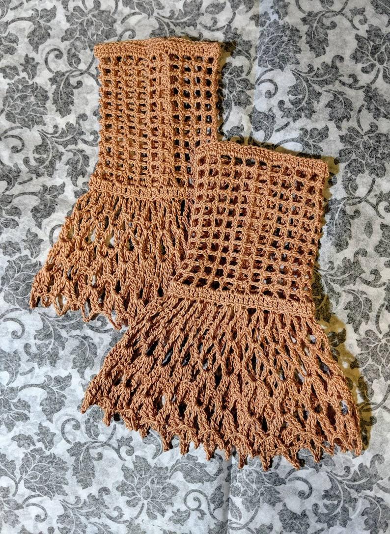 Copper Victorian Steampunk Gothic Crochet Lace Wrist Cuffs Fingerless Gloves Wedding Bridal