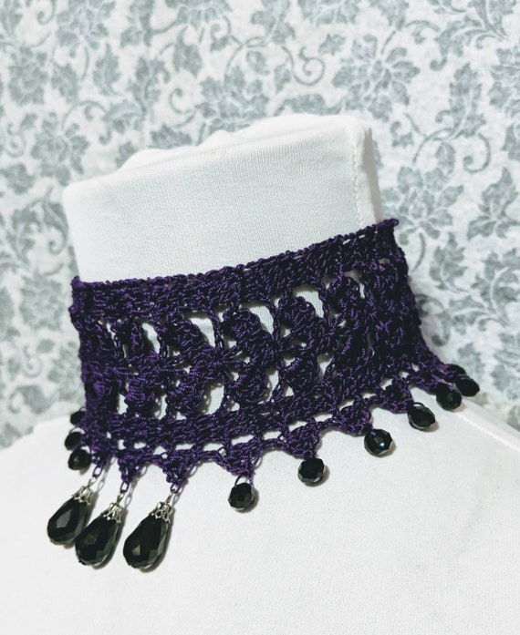 Handmade Gothic Purple Stretch Lace Choker Necklace Free Postage