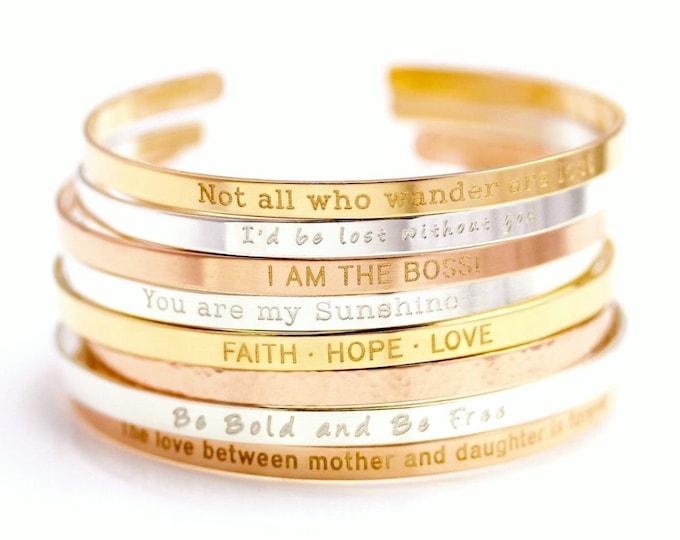 Gold Cuff Bracelet, Personalized Silver Cuff Bracelet, Band Cuff, Positive Inspirational Quote Cuff Bracelet, Stacking Bangle