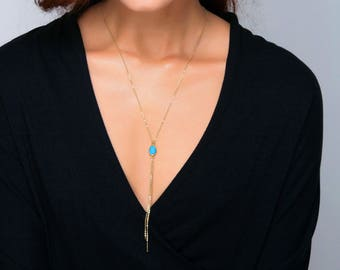 Gold Tassel Necklace, Birthstone Silver Tassel Necklace, Turquoise Birthstone Jewelry, Customized Delicate Y Lariat Necklace