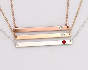 3306006f5 Gold Skinny Horizontal Bar Necklace, Silver CZ Crystal Diamond Jewelry,  Long Thin Bar Stick Necklace, Rose Gold Birthstone Mom Jewelry