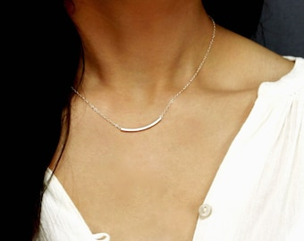 Delicate 18ct Gold over Sterling Silver Crystal Set Curved Bar Necklace.