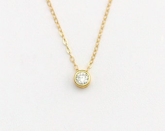 Dainty Tiny Cubic Zirconia Necklace, CZ Diamond Necklace / Simple Layering Necklace, Minimalist Jewelry Layered Necklace Gold or Silver