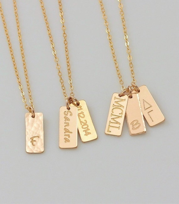 34cb0e164b0 14K Gold Name Bar Necklace Personalized Vertical Bar Pendant image 0 ...
