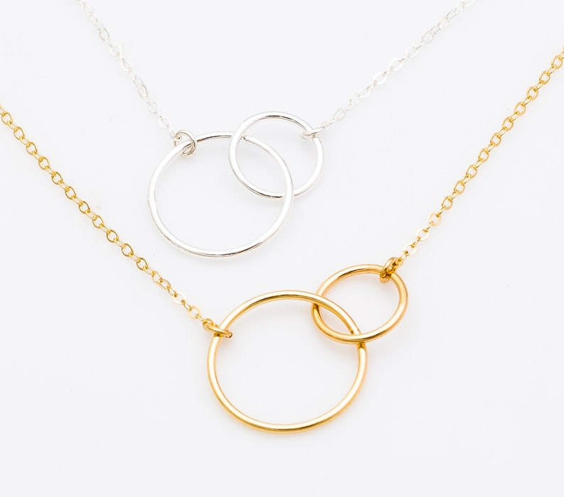 Interlocking Circle Necklace Double Circle Pendant Necklace image 0