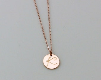 Personalized Circle Necklace - Rose Gold Initial Necklace - Monogram Silver Rose Gold Charm Necklace - Bridesmaid Necklace, Large Disc
