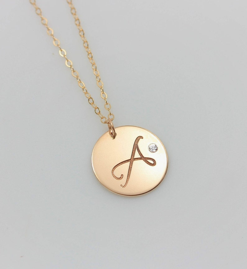 61b25f211978d Personalized Charm Necklace, Large Circle Monogram Necklace, Crystal  Diamond Necklace, Initial Disc Necklace, Long Gold Pendant Necklace