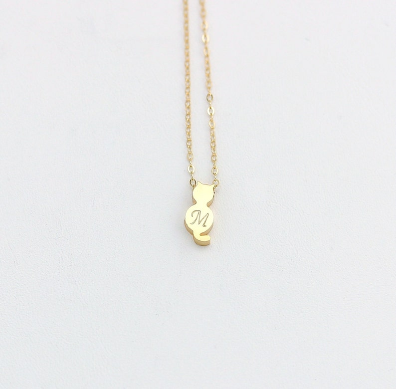 Double-sided Gold or Silver Cat Charm Necklace Hand Stamped Small Cat Pendant Personalized Monogram Cat Jewelry Initial Cat Necklace