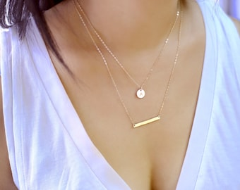 Layering Necklace, Double Strand Necklace, Initial Necklace Gold, Circle Necklace, Silver Layered Necklace, Hammered Bar Necklace Gold