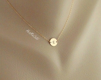 Monogram Necklace, GOLD Initial Disc Charm Necklace, Birthday, Bridesmaid Gifts, Mother's Jewelry, Child, Family, Personalized Jewelry