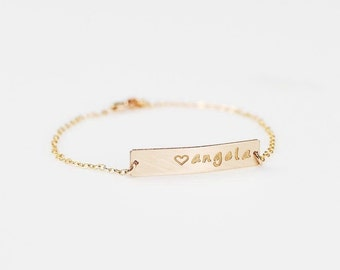 Gold Bar Bracelet, Personalized Initial Bracelet, Rose Gold Nameplate ID Medical Bracelet, Silver Name Plate Bracelet, Couple Jewelry