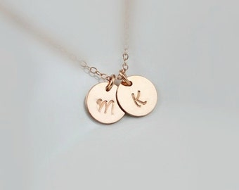 Two Rose Gold Monograms Disc Necklace / Two Pink Gold Initial Necklace / Couple Jewelry, Best Friend, Child, Sister, Mother Necklace