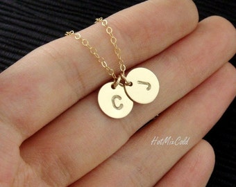 TWO Monograms Disc Necklace, Gold Initial Necklace, Customized Family Necklace / Couple Jewelry, Best Friend, Delicate Mothers Necklace