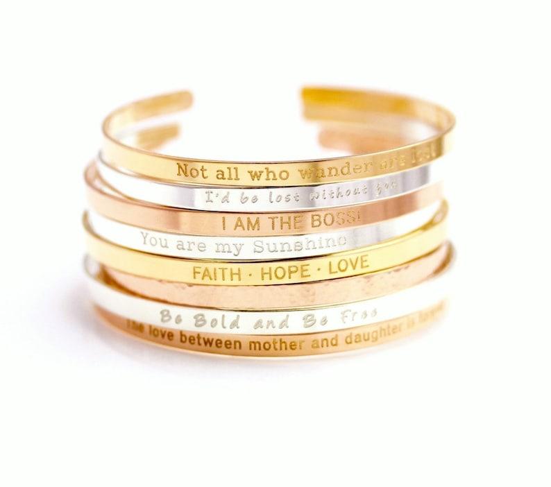 Inspirational Cuff Bracelet Personalized Cuff Bracelet Engraved Cuff Bracelet Rose Gold Sterling Stocking Band 14k Gold Filled