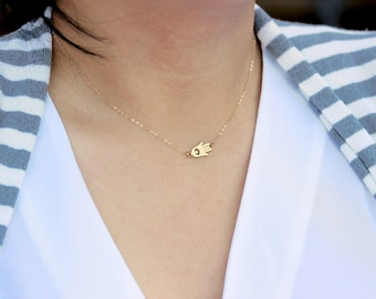 Sideways Hamsa Necklace, Tiny Hamsa Necklace, Gold Hand Necklace, Silver Fatima Necklace, Evil Eye on Delicate Thin Gold Fill Chain