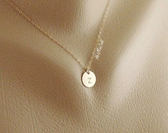 Customize Monogram Necklace, Personalized GOLD Initial 1 2 3 4 Disc Dangle Jewelry, Bridesmaid Gifts, Mom, Sisters M Circle Necklace