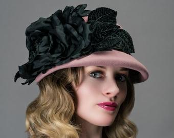 Fur Felt Cloche/Old Rose Felt Cloche/Cloche Hat/Pink Hat/Soft Pink Hat/Cloche/Downton Abbey Hat