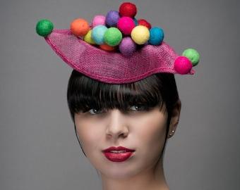 Judy Jetson/Fascinator/Hot Pink Hat/Hatinator/Mini Hat/Percher Hat/Space Age Fashion