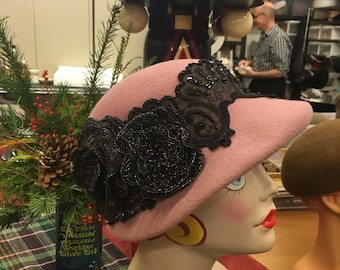 Dusty Rose Cloche Hat