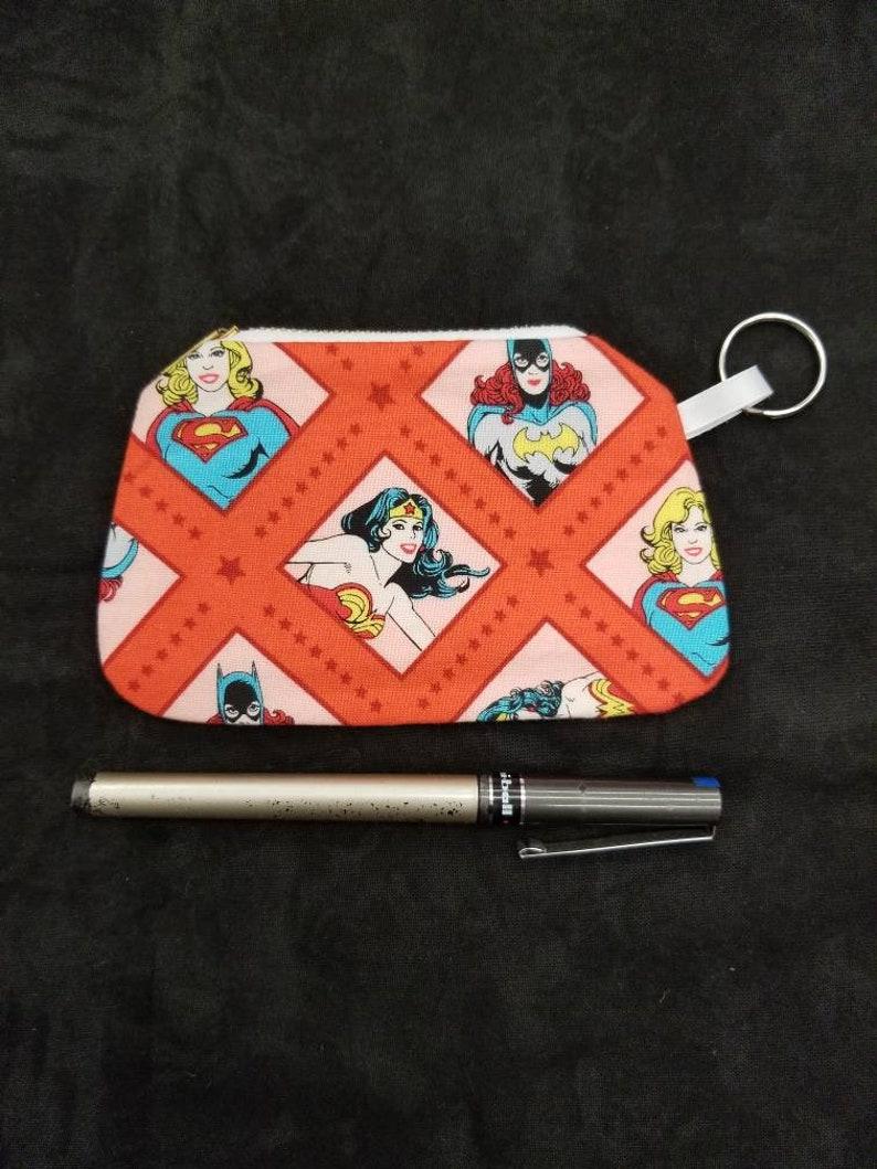 Wonder Woman Supergirl Batgirl DC Coin Purse Zippered Pouch