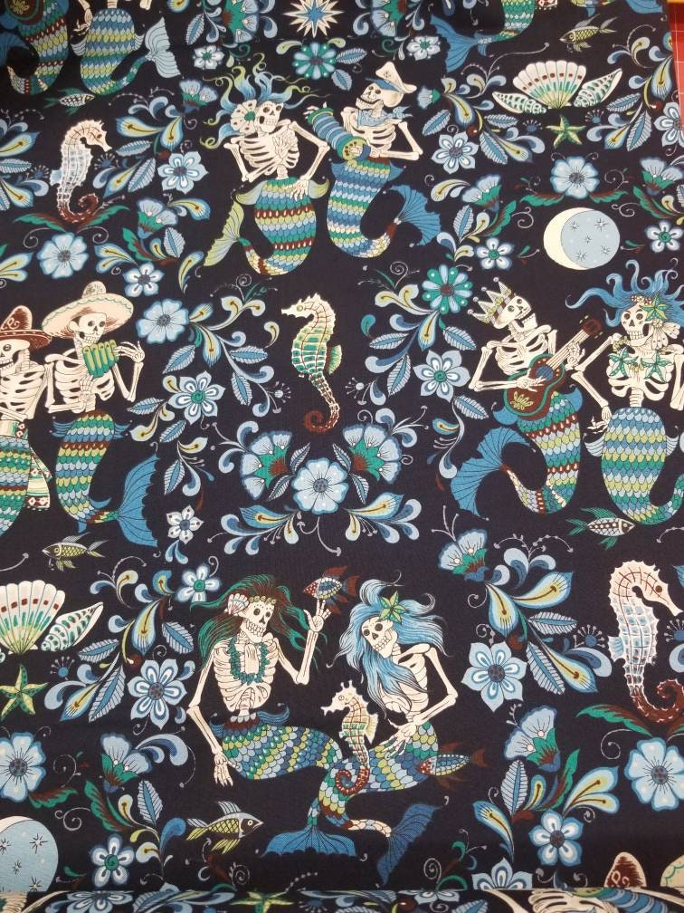 Esqueletos Del Mar mermaid skeletons Alexander Henry Fabric