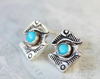 Turquoise earrings, sterling silver studs, stamped silver jewelry, southwestern light blue stone earrings,