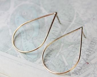 Gold teardrop earrings, 14k gold filled earrings, large hoop modern minimalist stud posts gift for wife girlfriend