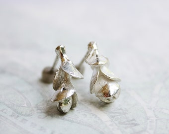 Silver Earrings, Sterling silver Sedum studs, succulent earrings, botanical jewelry, plant jewelry, cast from nature, gift