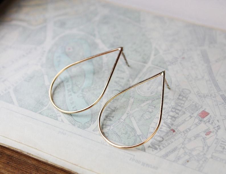 6686f62fc Gold teardrop earrings 14k gold filled earrings large hoop   Etsy