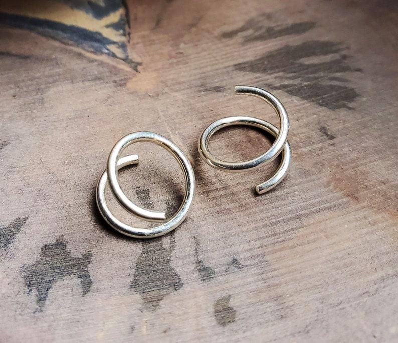 Twist earrings sterling silver small spiral double hoop helix image 0