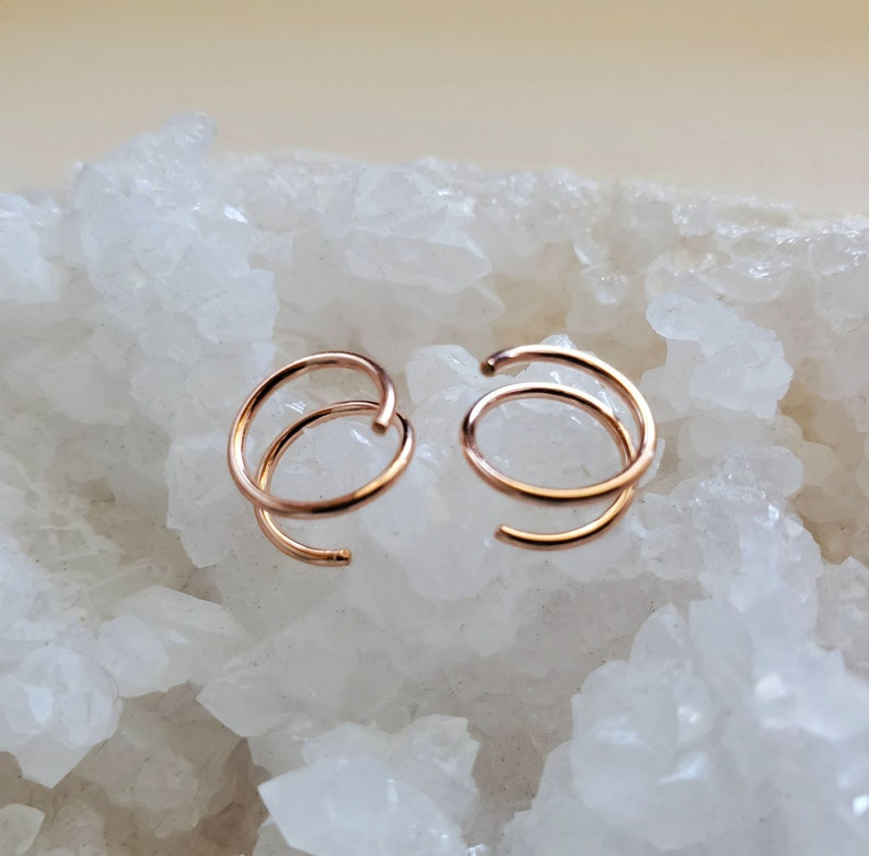 Rose Gold Twist Earrings 14k pink gold filled small spiral image 0