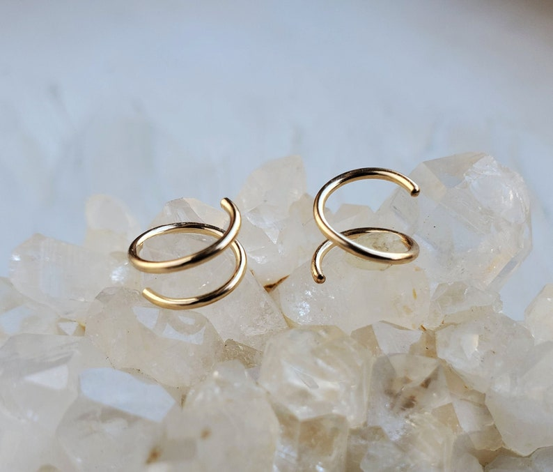 Gold Twist Earrings 14k gold filled small spiral double hoop image 0