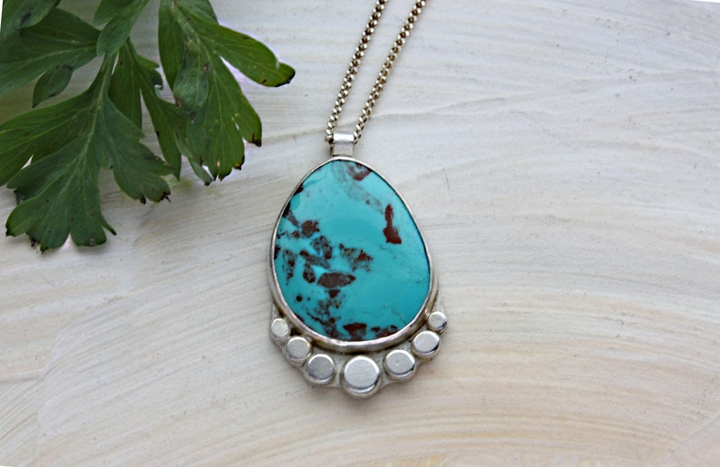 southwestern nature boho artisan jewelry gift for wife girlfriend sister stone pendant Turquoise Necklace Sterling silver jewelry