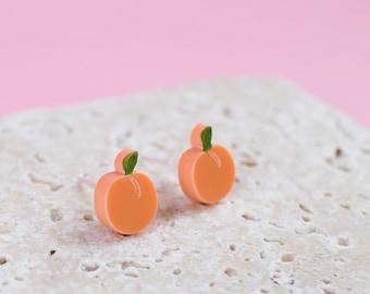 Peach Earrings - Peach Studs - Peach Jewellery - Fruit Earrings - Peach Gift - Quirky Earrings - Quirky Studs - Laser Cut Earrings - Fruit
