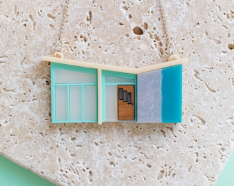 Palm Springs Blue House Necklace - mid-century house - mid century  - mid-century modern - Palm springs gift - tiny house - house jewellery