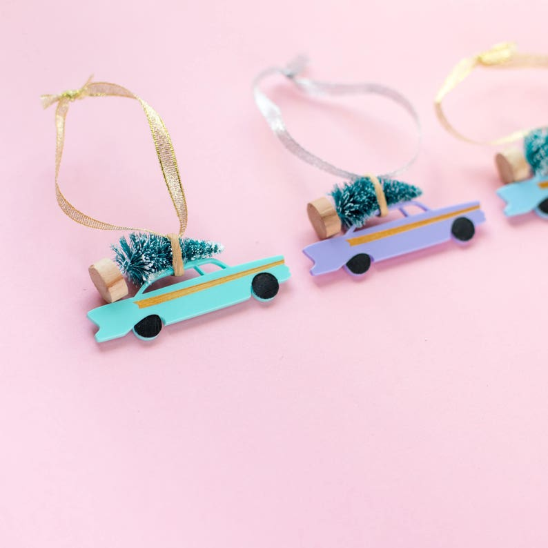 Mid Century Vintage Pastel Car Christmas Decorations inspired image 0