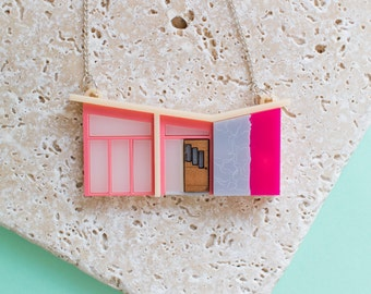 Palm Springs Pink Mid-Century House Necklace - mid-century necklace - mid century - mid-century jewellery - mid-century modern jewellery