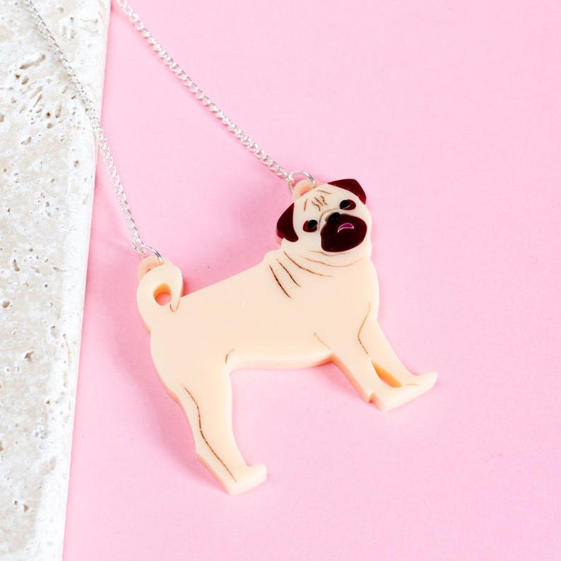 Pug necklace  pug gift  gift for dog lover  dog jewellery  image 0