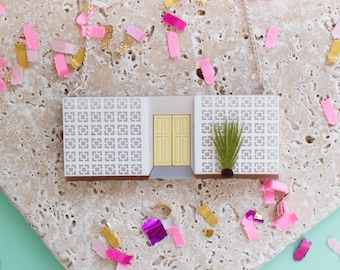 Palm Springs Pink Mid-Century Block Wall Necklace - mid-century necklace - Palm Springs -  Palm Springs Jewellery - Mid-Century Jewellery