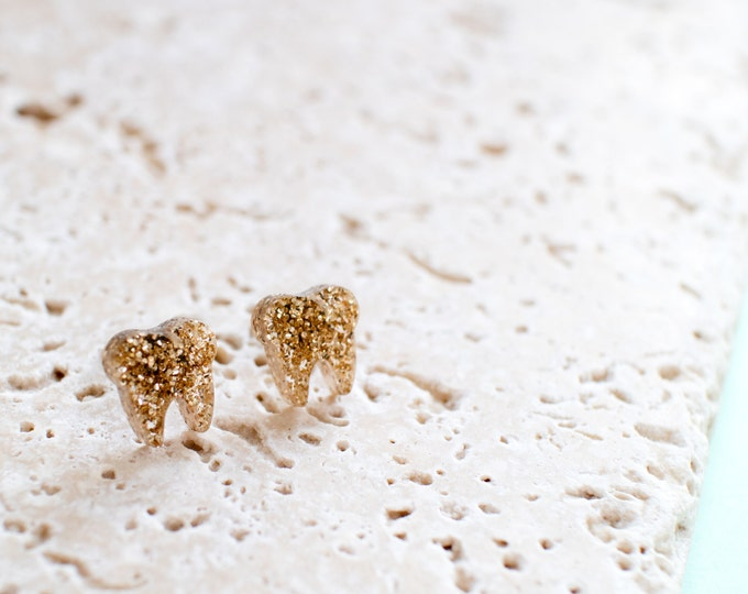 Gold Tooth Earrings - Tooth Studs - Tooth Jewellery - Dentist Earrings - Dentist Gift - Quirky Earrings - Quirky Studs