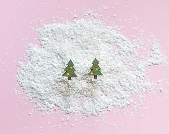 Christmas Tree Earrings - Christmas Tree Studs - Christmas Tree Jewellery - Xmas Earrings - Christmas Earrings - Christmas Tree Studs